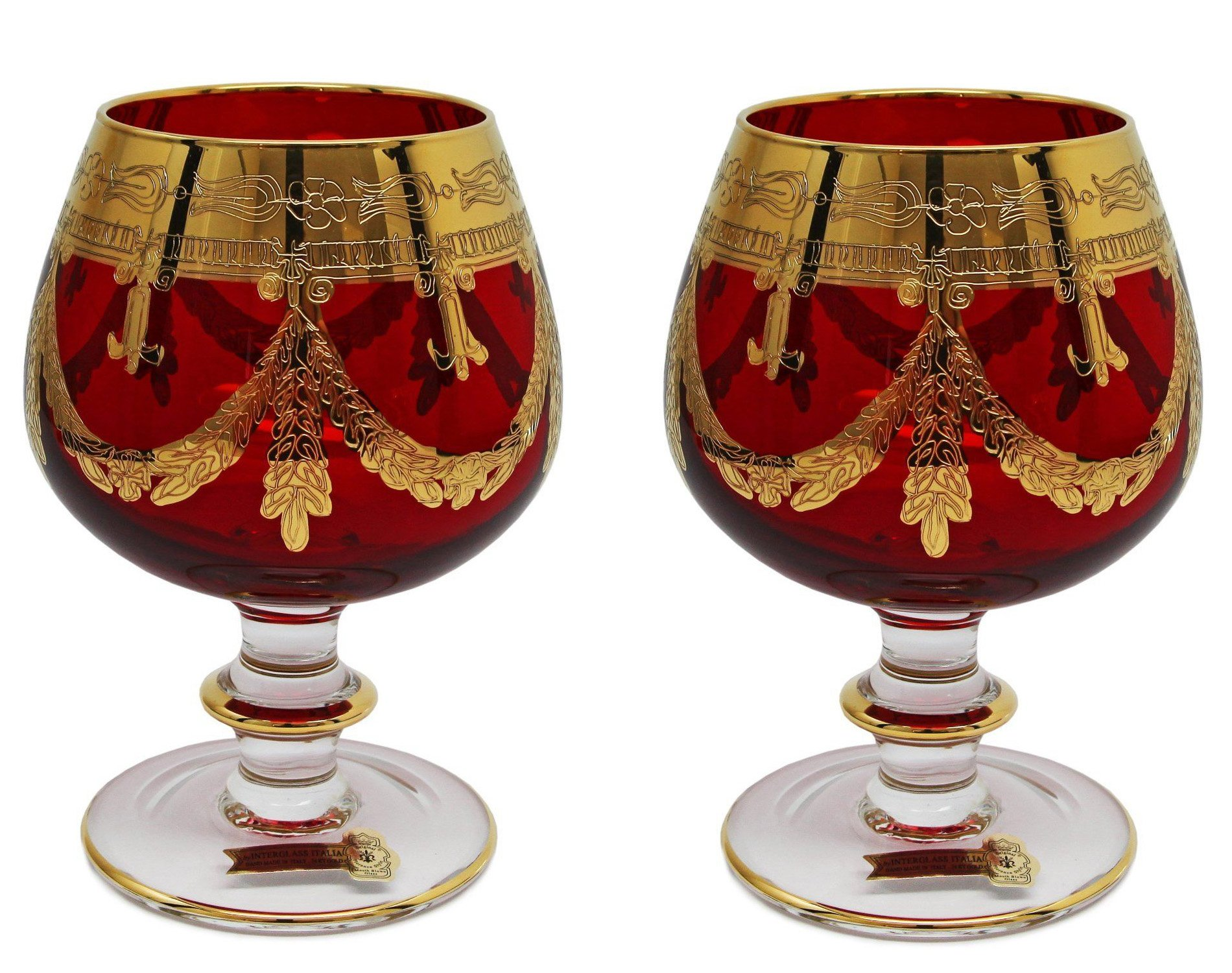 Interglass - Italy, Red Crystal Cognac Snifters Goblets, Vintage Design, 24K Gold Hand Decorated, 10 Oz, SET OF 2