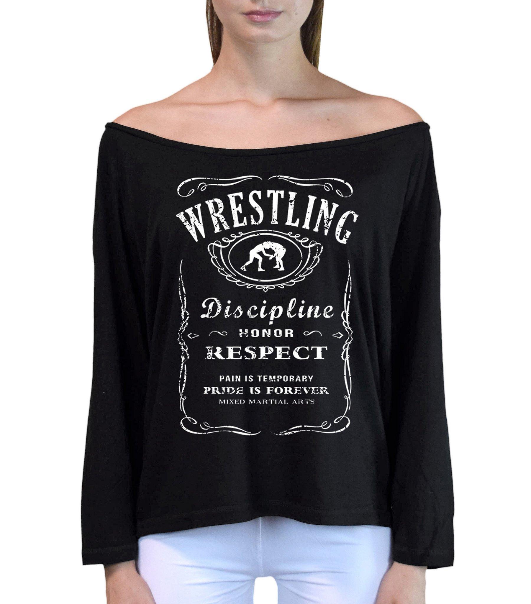 Interstate Apparel Inc Junior's MMA Wrestling Whiskey Label Black Off-Shoulder Long Sleeve T-Shirt S/M Black
