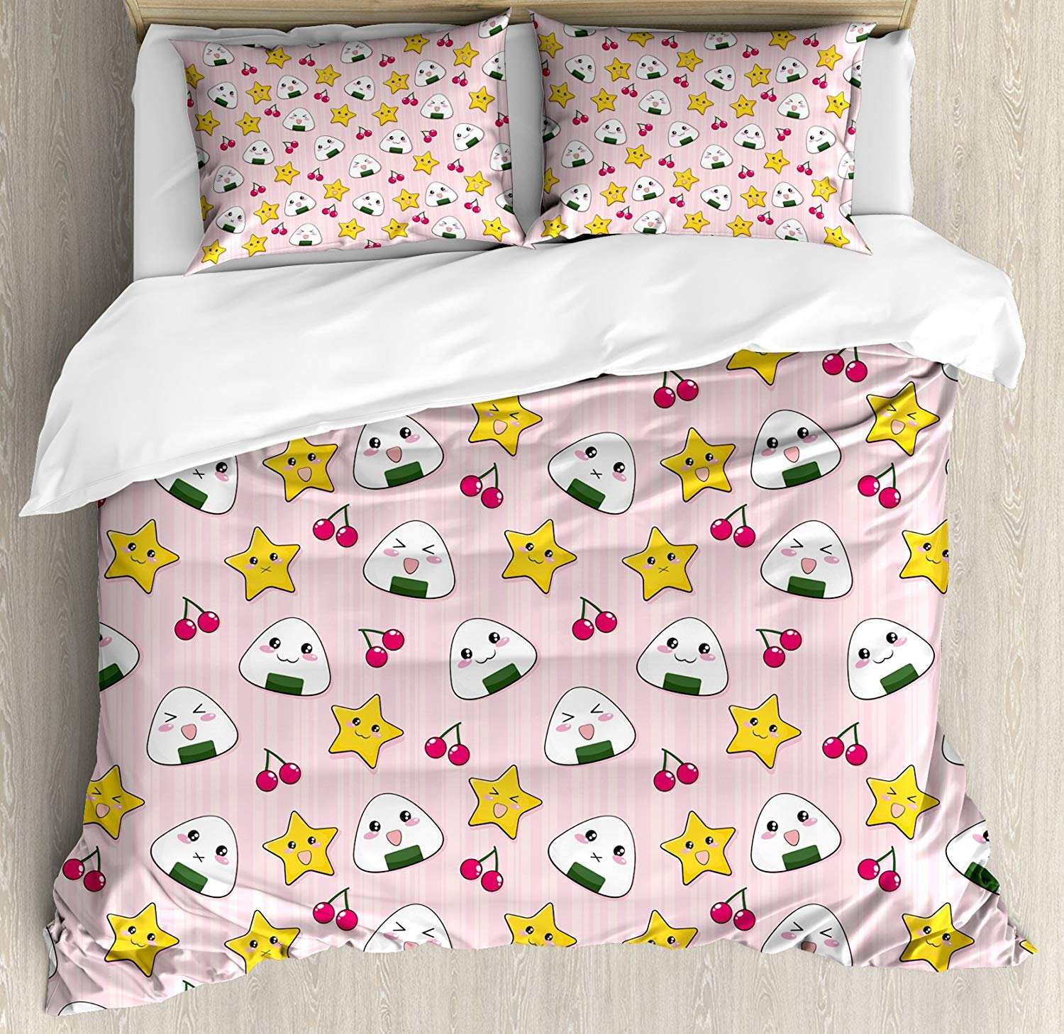 Twin XL Extra Long Bedding Set, Kids Duvet Cover Set, Cute Japanese Food Icons Rice Ball Cherries Asian Kawaii Anime Pattern Design, Cosy House Collection 4 Piece Bedding Sets