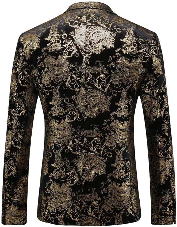 Mens Golden Suit Golden Single Breasted 2 Button Blazer Notched Lapel Floral Print Blazer Suit Jacket
