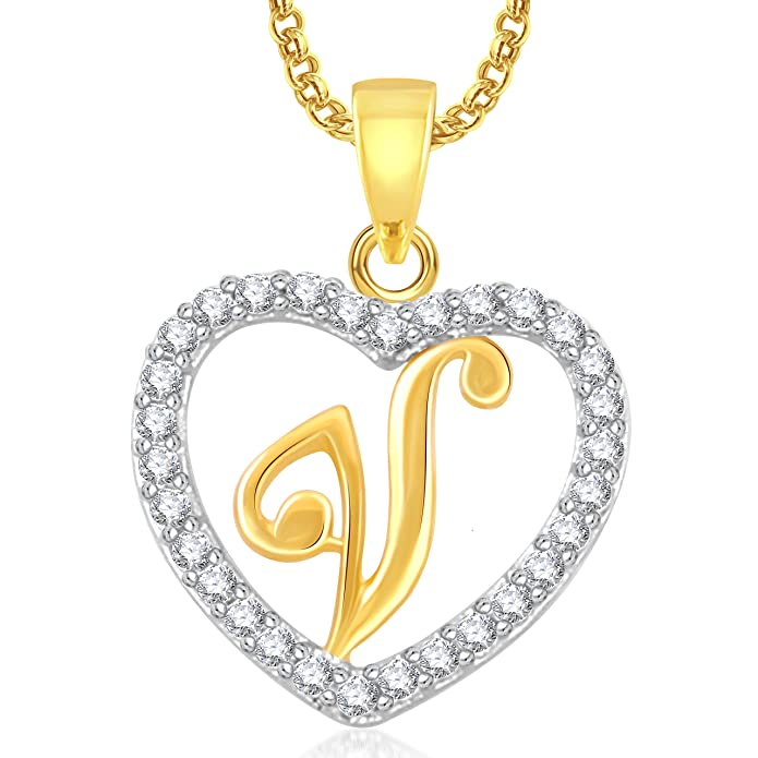Meenaz V Letter Heart Pendant Locket Alphabet For Women And Men With Chain Gold Plated In American Diamond Cz Amazonin Jewellery