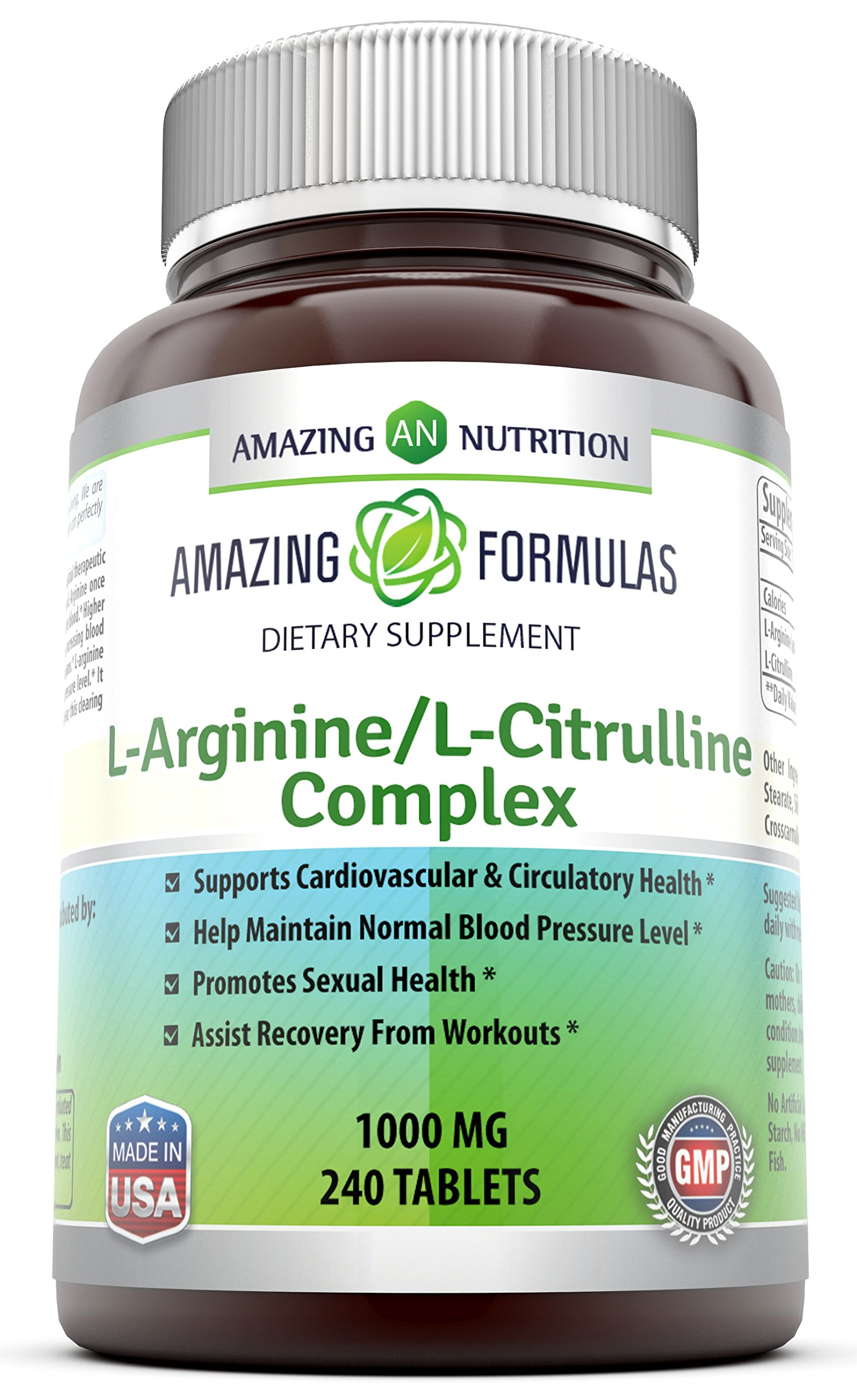 Amazing Formulas L-Arginine/L-Citrulline Complex - 1000 Mg, 240 Tablets (Non-GMO) - Supports Cardiovascular & Circulatory Health - Promotes Sexual Health - Assists Recovery from Workouts.