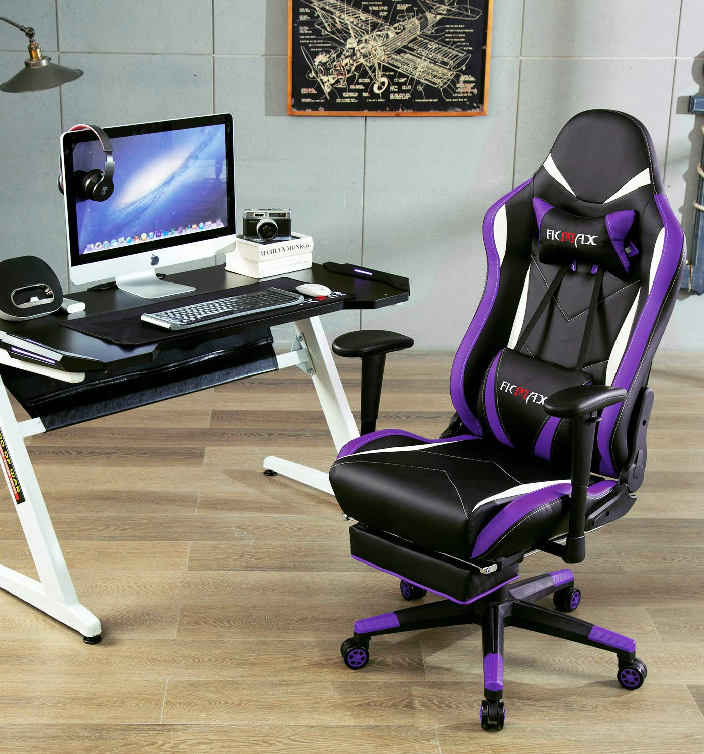 Ficmax Massage Gaming Chair with Footrest Ergonomic Gamer Chair for E-sport, Reclining Video Game Chair with Armrest Large Size High Back Computer Gaming Chair with Headrest and Lumbar Support Purple