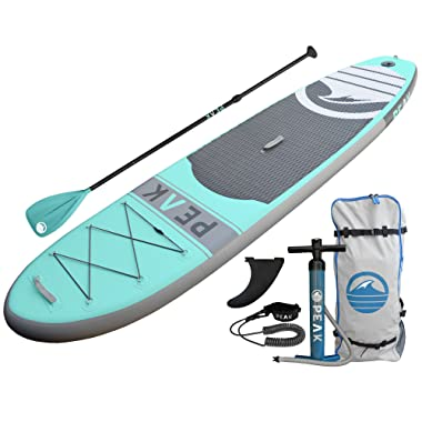 PEAK Inflatable 10'6 Stand Up Paddle Board Complete Package (6  Thick) | Includes Adjustable Paddle , Travel Backpack, Coil Leash (Aqua)