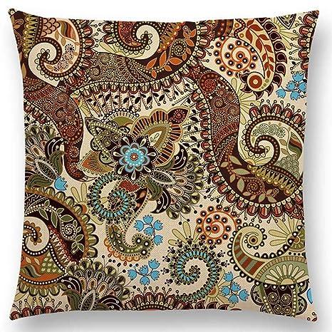 Amazon.com: Funda de cojín cuadrada de algodón y lino para ...