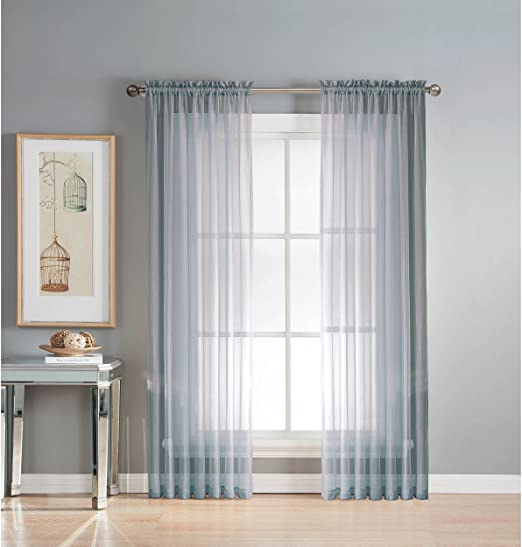 Amazon Com Window Elements Sheer Elegance Rod Pocket 108 X 84 In Curtain Panel Pair Light Blue Home Kitchen