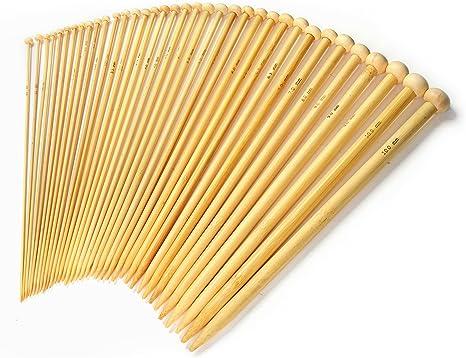 36Pcs//1 Set 18 Sizes Carbonized Bamboo Single Pointed Crochet Knitting Needle bg