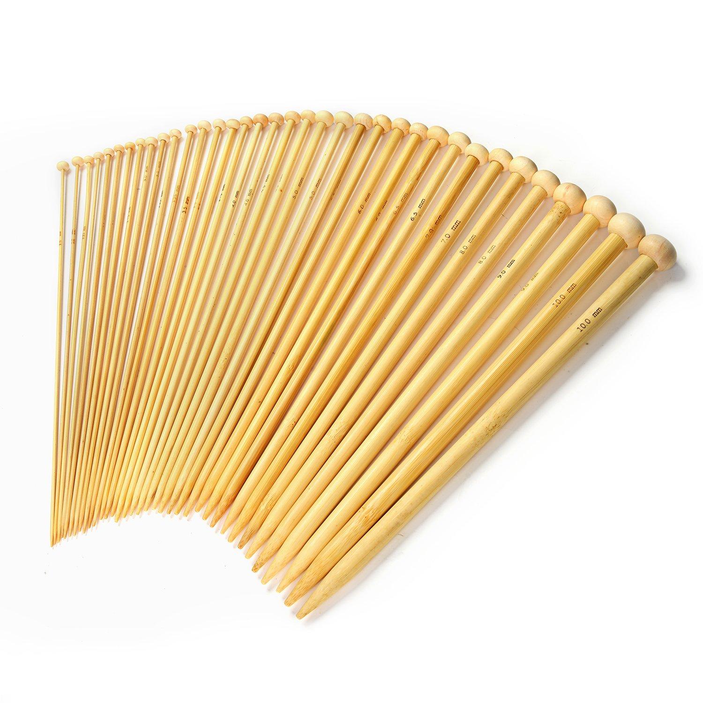 LIHAO 36 x Bambú Agujas de Tejer Agujas de Punto (2.0mm a 10.0mm