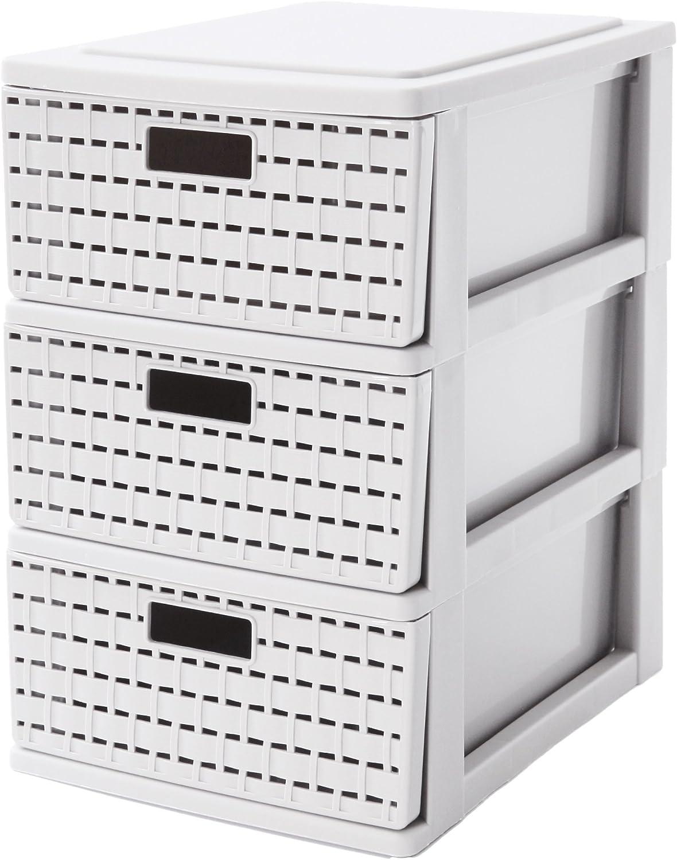 A5 weiss Kunststoff 26 x 18,5 x 28 cm PP Sundis Country Schubladenbox mit 3 Sch/übe in Rattan-Optik