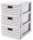 Sundis 4536011 Country Mini con compartimentos para 3 cajones de almacenamiento tamaño A5, de plástico, blanco, 25,5 cm x 18 cm x 28,5 cm