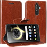 Lychee bags Vintage Artificial Leather Wallet Flip Book Cover Case for Lenovo K8 Note (Brown)