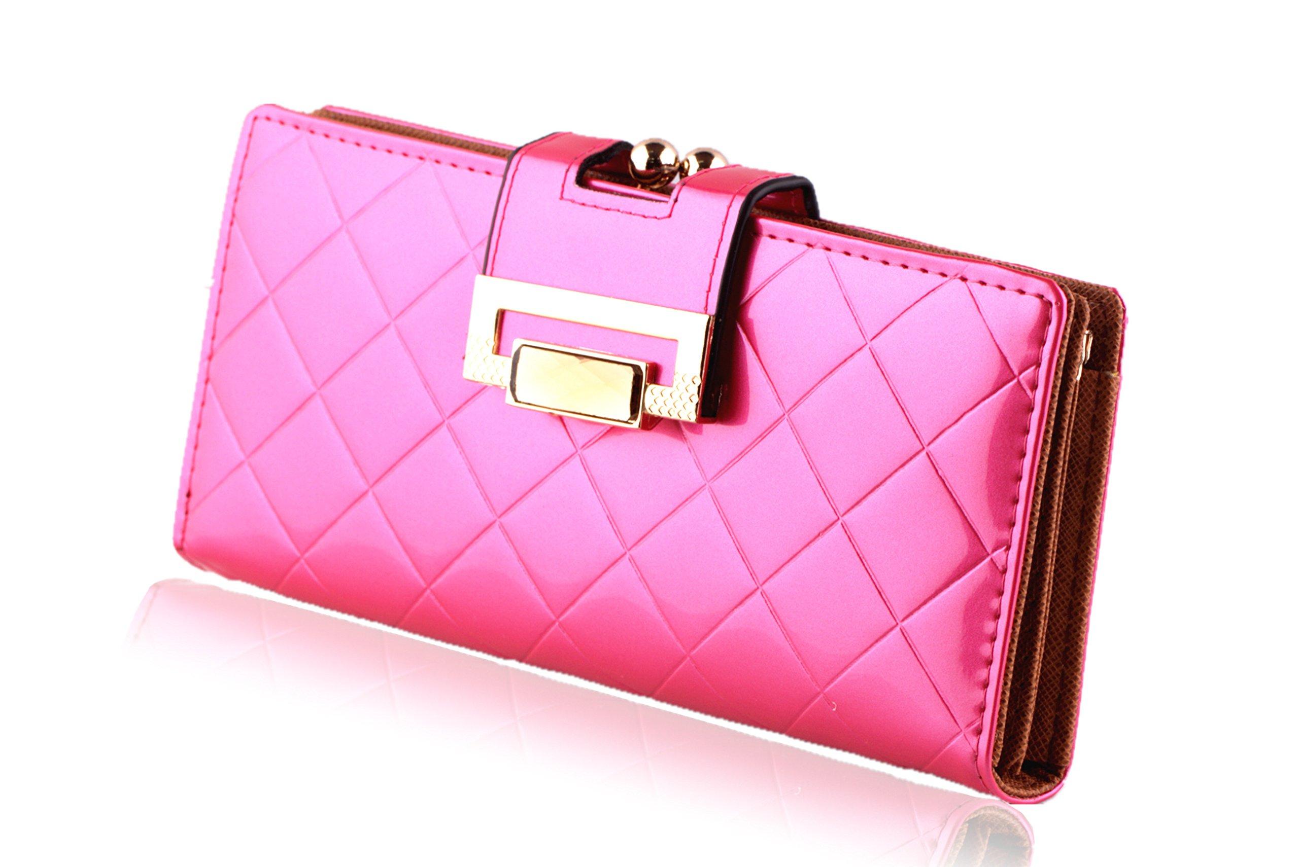 LBS Women's Fashion Style Multi Functional Wallet Purse Handbag (Shinny Fuchsia)
