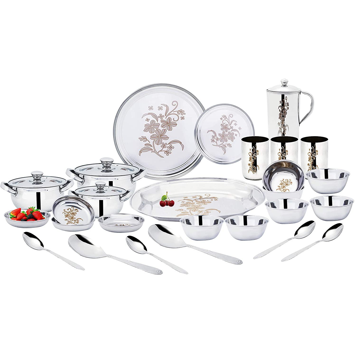 Uddhav Gold Collection Stainless Steel 51 pcs Dinner Set