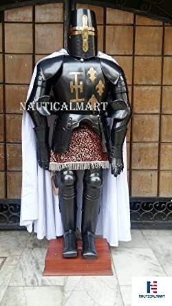 Dark Black Knight Crusader Suit Of Templar Armor Medieval reenactment SCA Body Armour : knights templar costume authentic  - Germanpascual.Com
