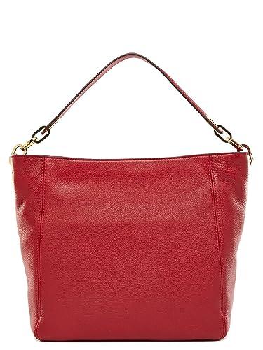 michael kors fulton medium leather shoulder bag cherry handbags rh amazon com