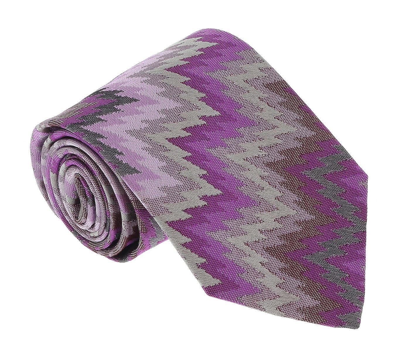 Missoni U4056 Purple//Gray Flame Stitch 100/% Silk Tie for mens