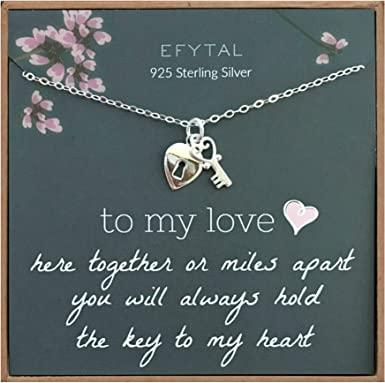 Amazon Com Efytal Anniversary Gift For Girlfriend Wife 925 Sterling Silver Heart Key Necklace For Her I Love You Jewelry Gifts For Women Birthday Gift Ideas For Her Long Distance Relationship