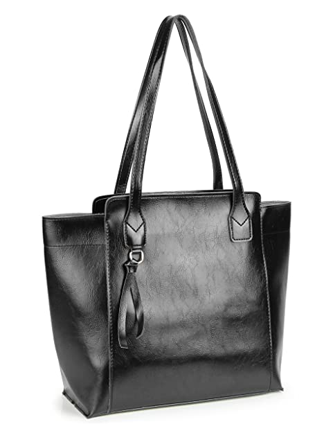 37fa326c61a Amazon.com  Womens Work Tote Shoulder Bag Large Soft PU Leather Handbags  with Simple Belt (Black)  Shoes