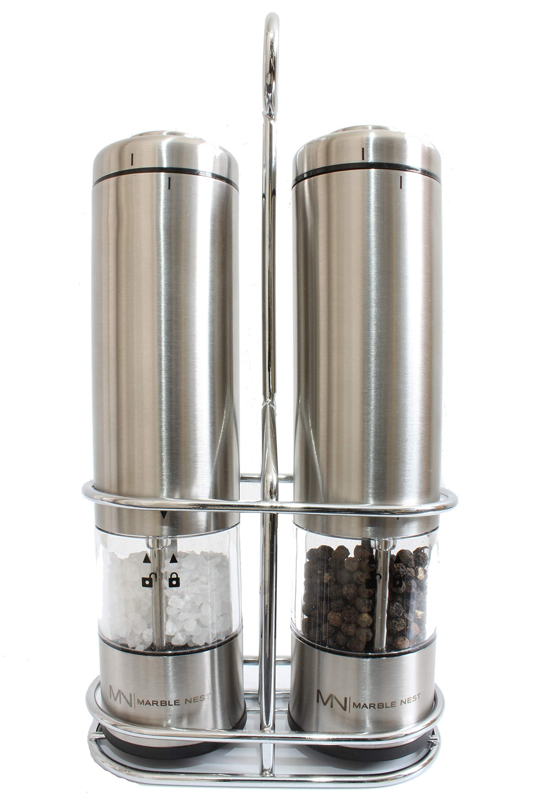 Electric Salt and Pepper Grinder Set (Battery Operated) by Marble Nest - Premium Stainless Steel with Stand - LED Light - Ceramic Mill - Adjustable Fine to Coarse Knob - Separate Battery Compartment by Marble Nest