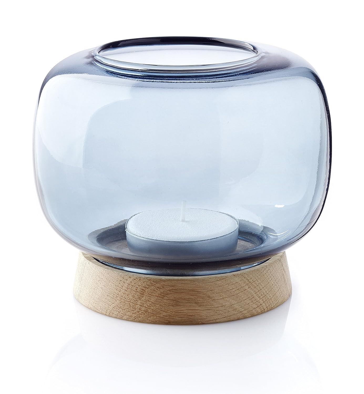 Applicata - Teelichthalter - Hurricane - Maxi - Eiche blau - Ø15 x 13 cm