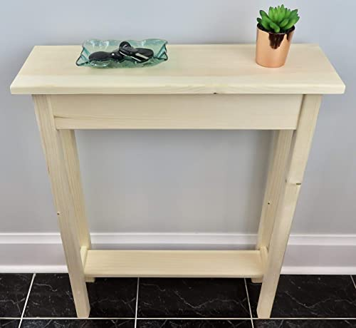 24 Unfinished Narrow Console Sofa Table With Bottom Shelf