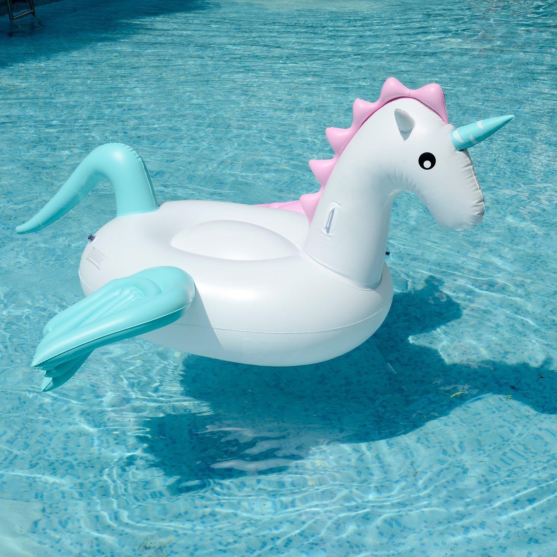 250X250X130CM Giant Aufblasbare Pegasus Pool Float Floating Bett PVC Material Allgemein Erwachsene Kinder Schwimmen Ring Wasser Erholung Freizeit Stuhl Sport Outdoor Spielzeug Raft Lounger Small (Pegasus 250cm) … (Bemalte flügel Pegasus)