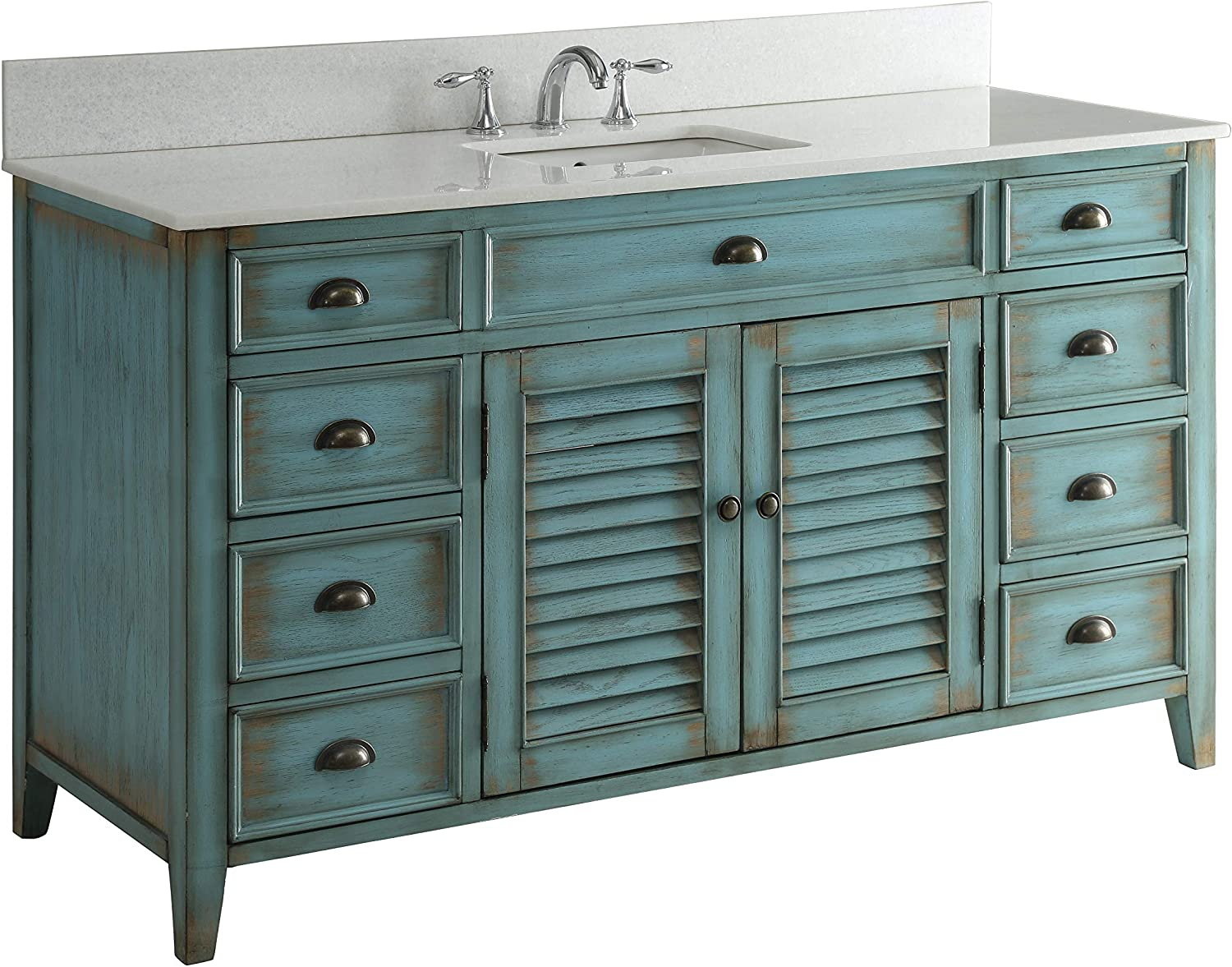 60 Cottage Look Single Sink Abbeville Bathroom Sink Vanity Model CF-66323BU-60