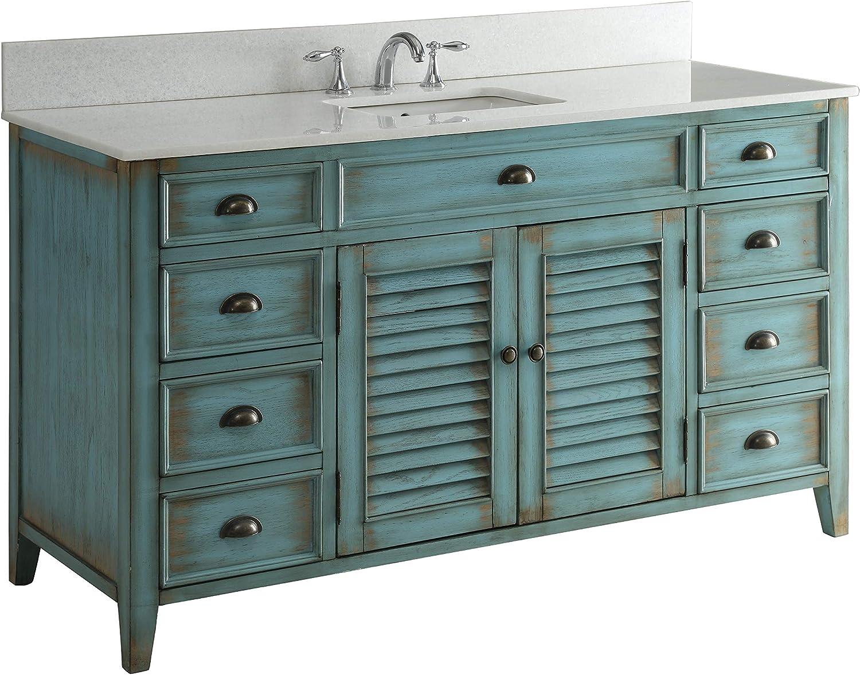 60 Cottage Look Single Sink Abbeville Bathroom Sink Vanity Model CF-66323BU-60