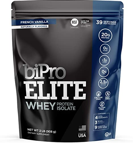 BiPro ELITE 100 Whey Isolate Protein Powder, French Vanilla 2 Pounds – NSF Certified for Sport, Sugar Free, Lactose Free, Gluten Free, Contains Natural Sweeteners