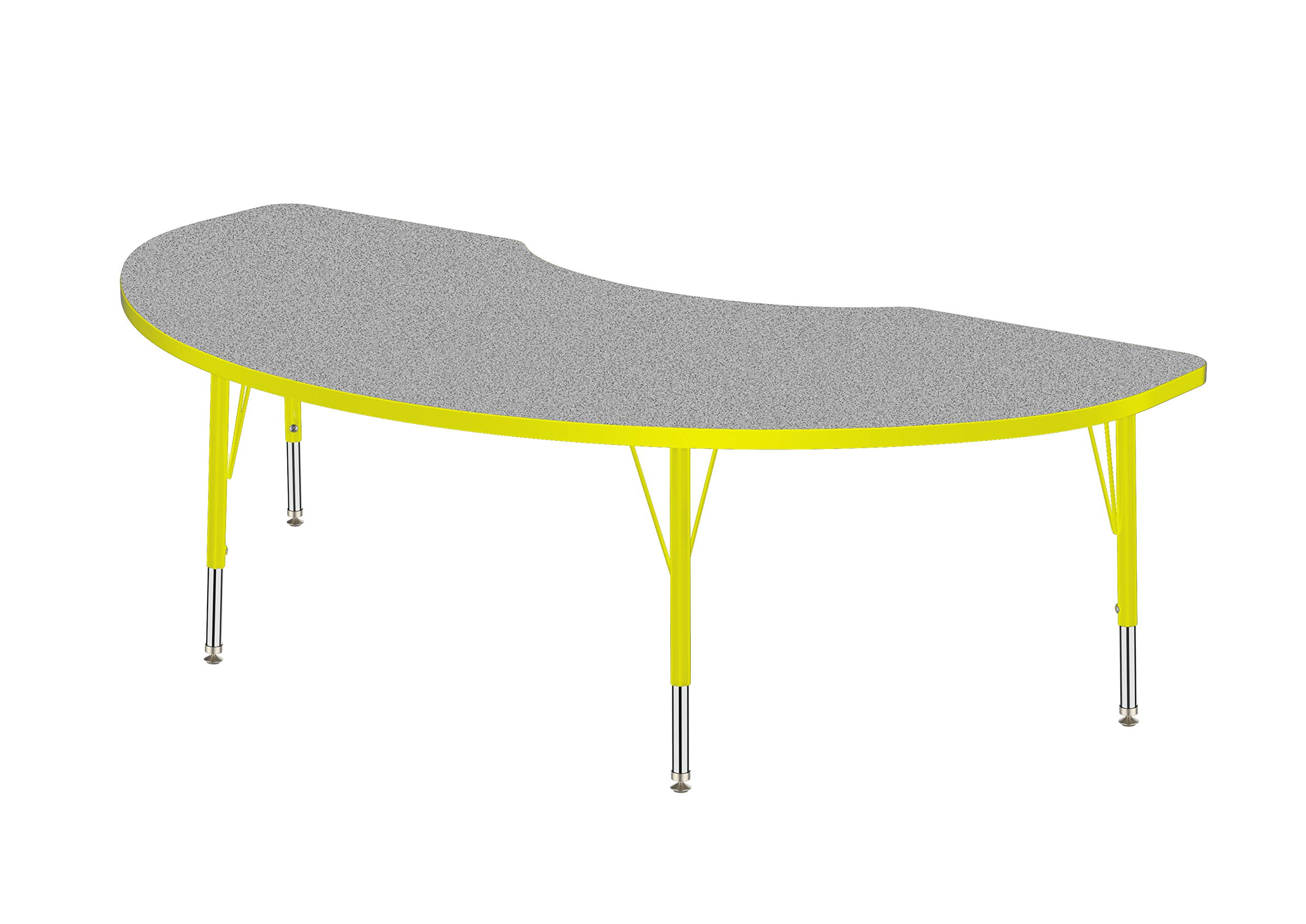Marco Group AMG2267-N3-BYEL 36'' x 72'' Kidney Shaped Adjustable Height Activity Table, ((21''-30'') Standard Size Legs, Gray Nebula-Top, Yellow-Edge