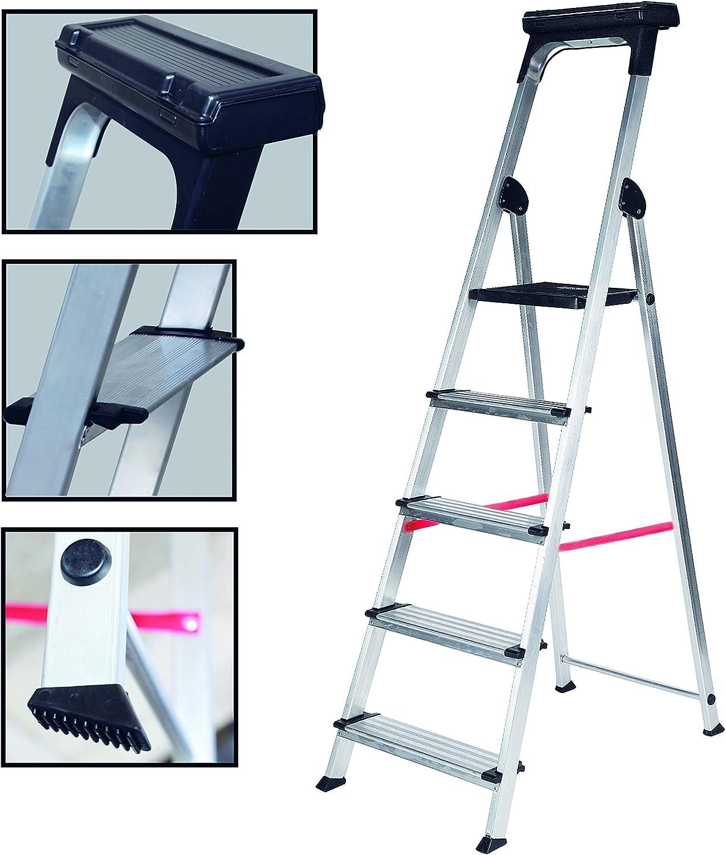 Escalera Ancha de Aluminio ELITE PLUS (5 Peldanos): Amazon.es: Bricolaje y herramientas