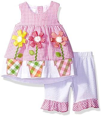 198da81c3e2 Amazon.com  Bonnie Baby Baby Girls  Bunny Appliqued Seersucker ...