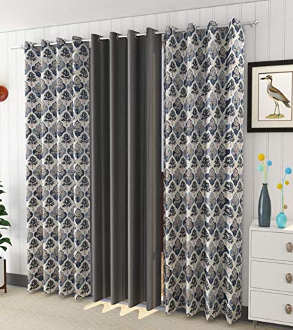 Buy Impression Hut Curtains Polyester Tree Printed Set of 3 Pcs Grey(2Tree+1Plain) Size for Long Door 4 Feet x 8 Feet Online at Low Prices in India - Amazon.in