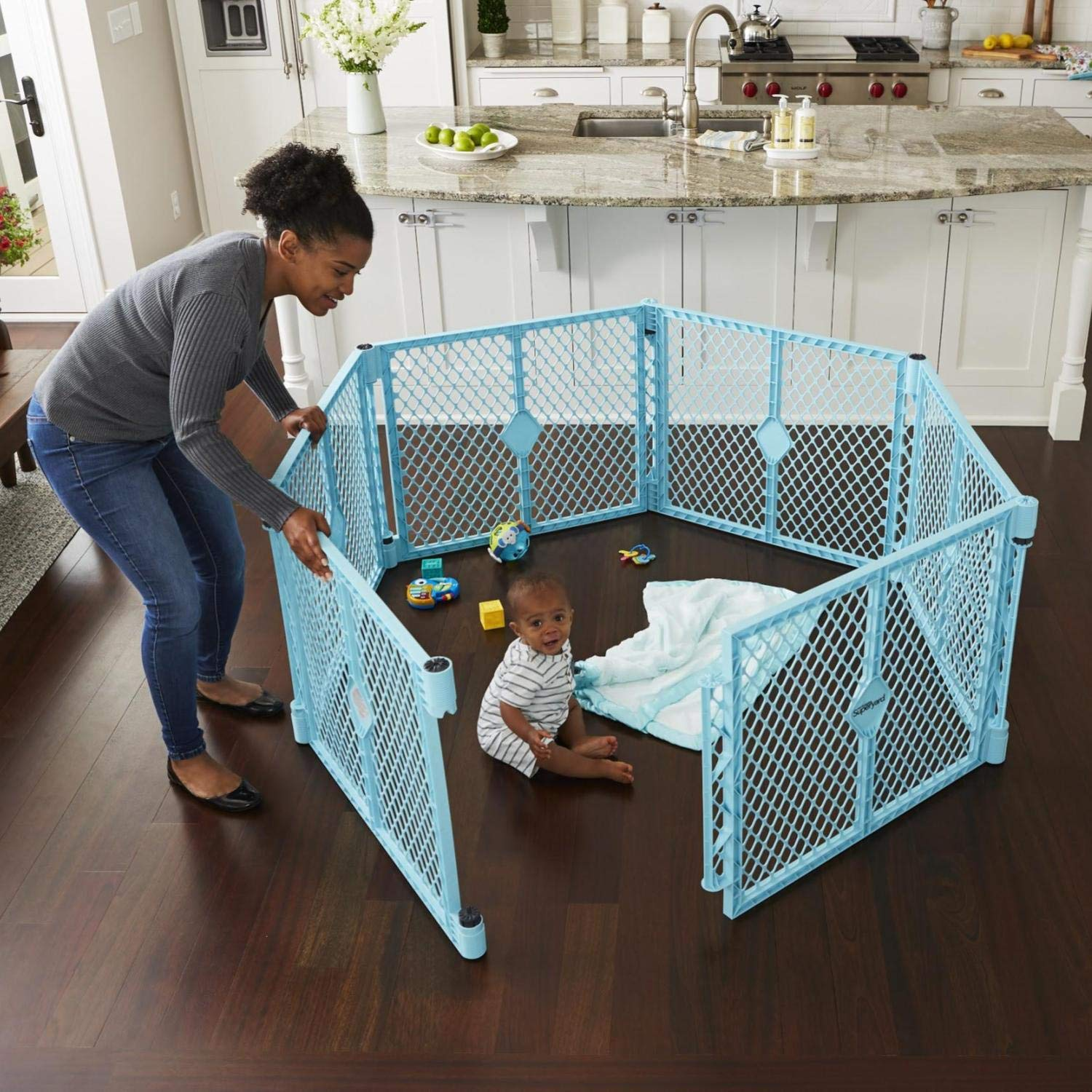 """Toddleroo by North States Superyard Indoor/Outdoor 6 Panel Baby Play Yard: Safe Play Area Anywhere. Folds up with Carrying Strap for Easy Travel. Freestanding. 18.5 sq. ft. Enclosure (26"""" Tall, Aqua)"""