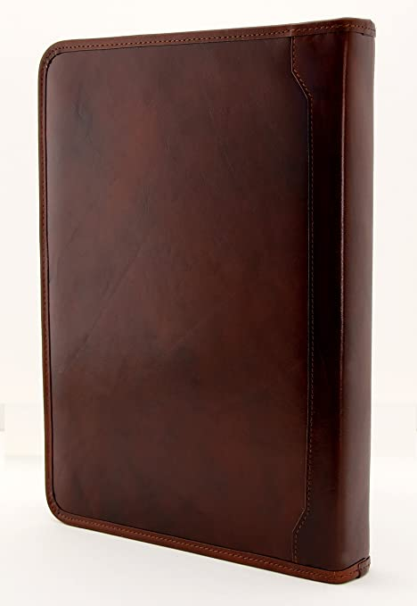 Amazon.com : Noda Italian Genuine Leather Zipped Business Conference A4 Folder Ring Binder (Brown) : Office Products