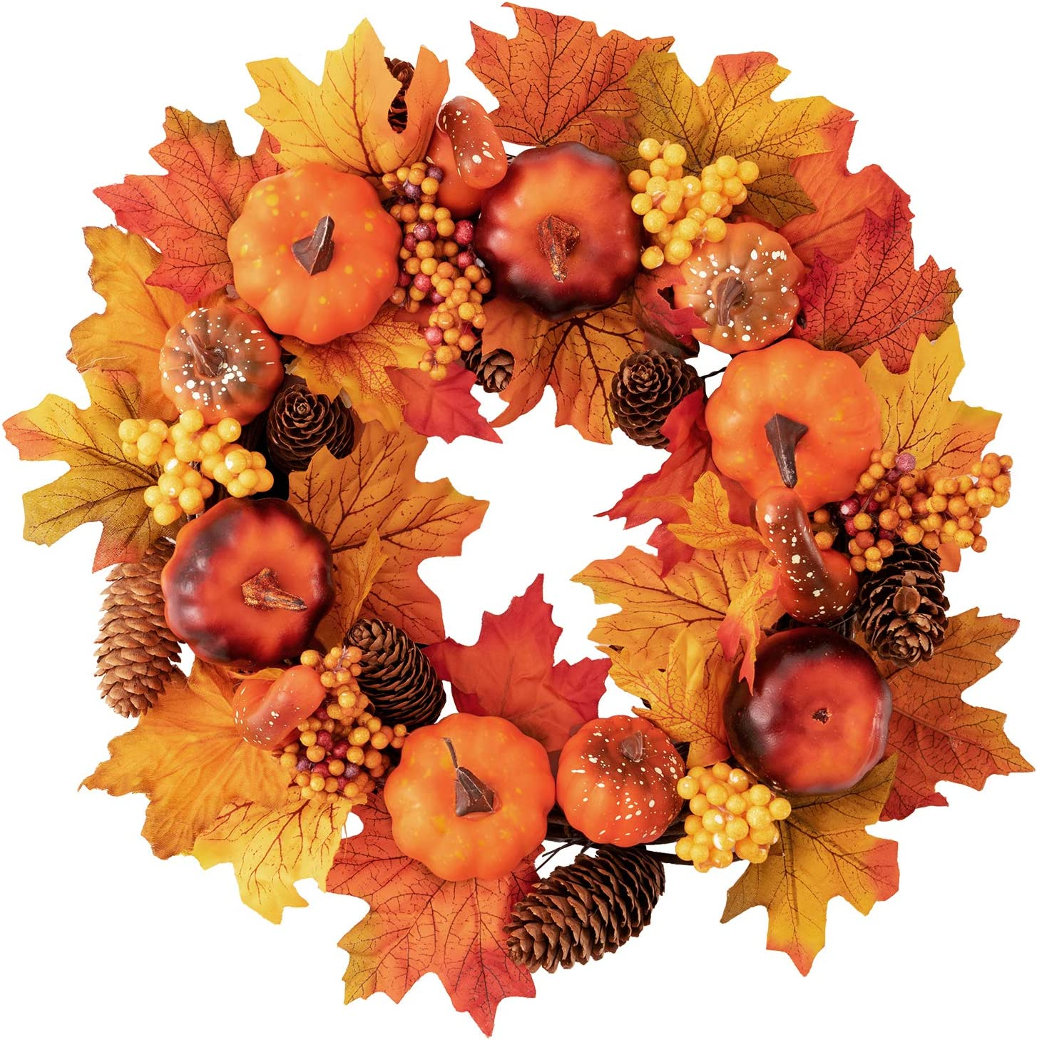 MoonLa 15 inch Fall Door Wreath Autumn Maple Leaf Pumpkin Pinecone Harvest Wreath for Front Door Thanksgiving Halloween Decorations Home Decor
