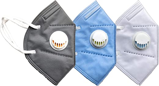 Cotson 5 Layers Antibacterial KN95 Safety Mask With Air Filter-Reusable (Pack of 3) (White, Blue, Gray)