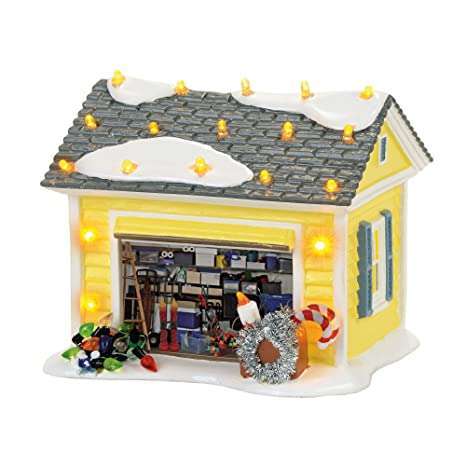 Christmas Vacation House Lights.Department 56 4056686 Snow Village Christmas Vacation The Griswold Holiday Garage Lit Building Multicolor