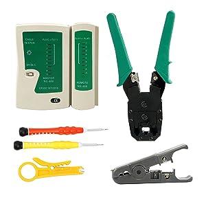Yaetek Network Ethernet LAN Kit -RJ45 RJ11 Cat5e Cat6 Cable Tester Test Tool - Crimper Crimping Tool Set - Network Cable Repair Kit -Maintenance Network Wire Punch Down Impact Tool Stripper Cutter Set