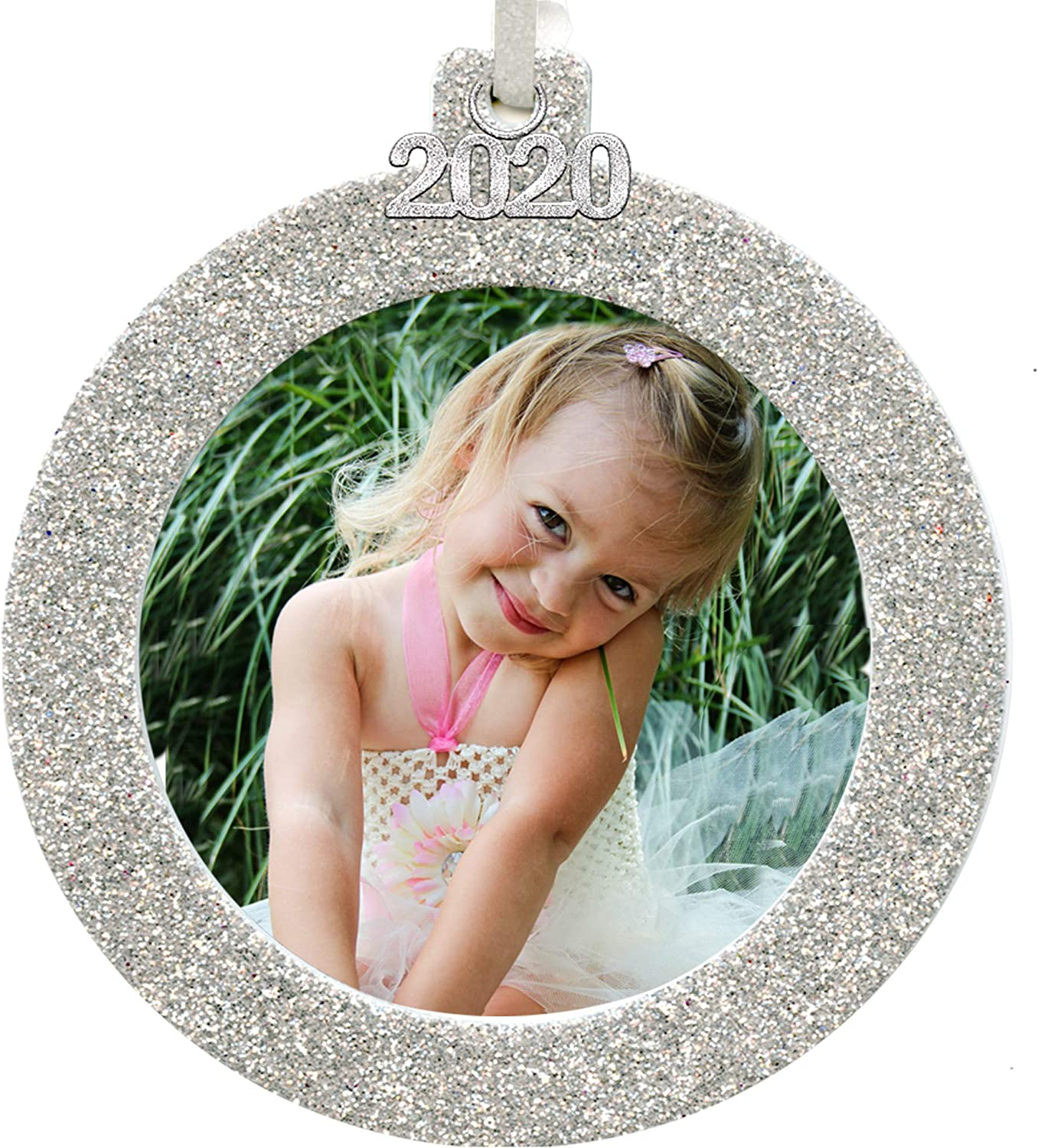 2018 Magnetic Glitter Christmas Photo Frame Ornament with Non Glare Photo Protector Round Blue