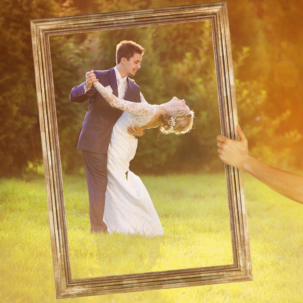 PHOTOLINI Hochzeit-Bilderrahmen für beeindruckende Hochzeitsfotos Hochzeitsspiele oder als Hochzeits-Rahmen und Photo-Booth Zubehör 40x60 cm Farbe Gold