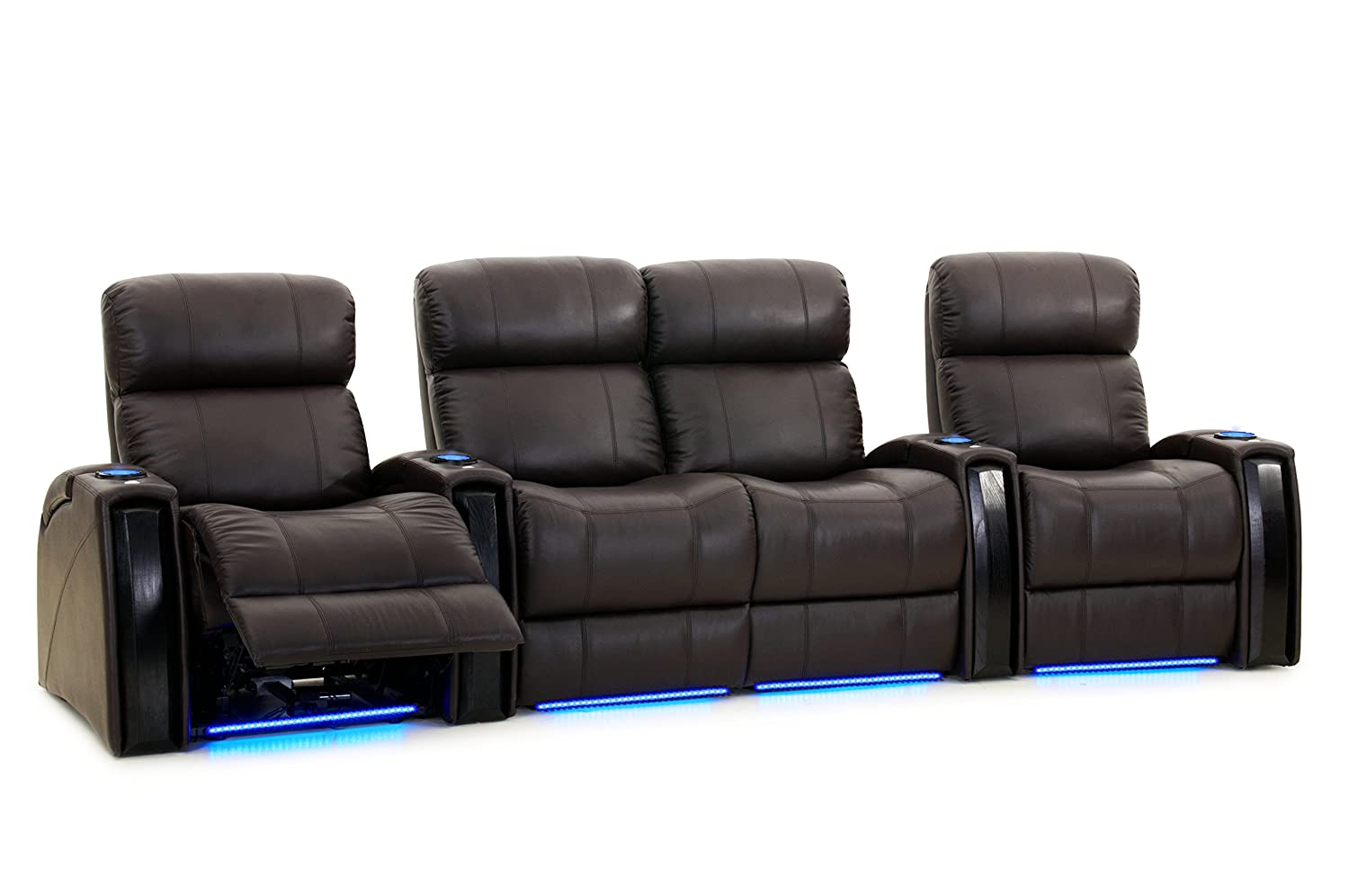 Octane seating nitro xl750 home theater furniture brown leather power recline lighted cup holders storage arms row of 4 seats with middle loveseat