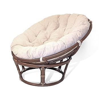 Handmade Rattan Wicker Round Papasan Chair With Cushion Dark Brown