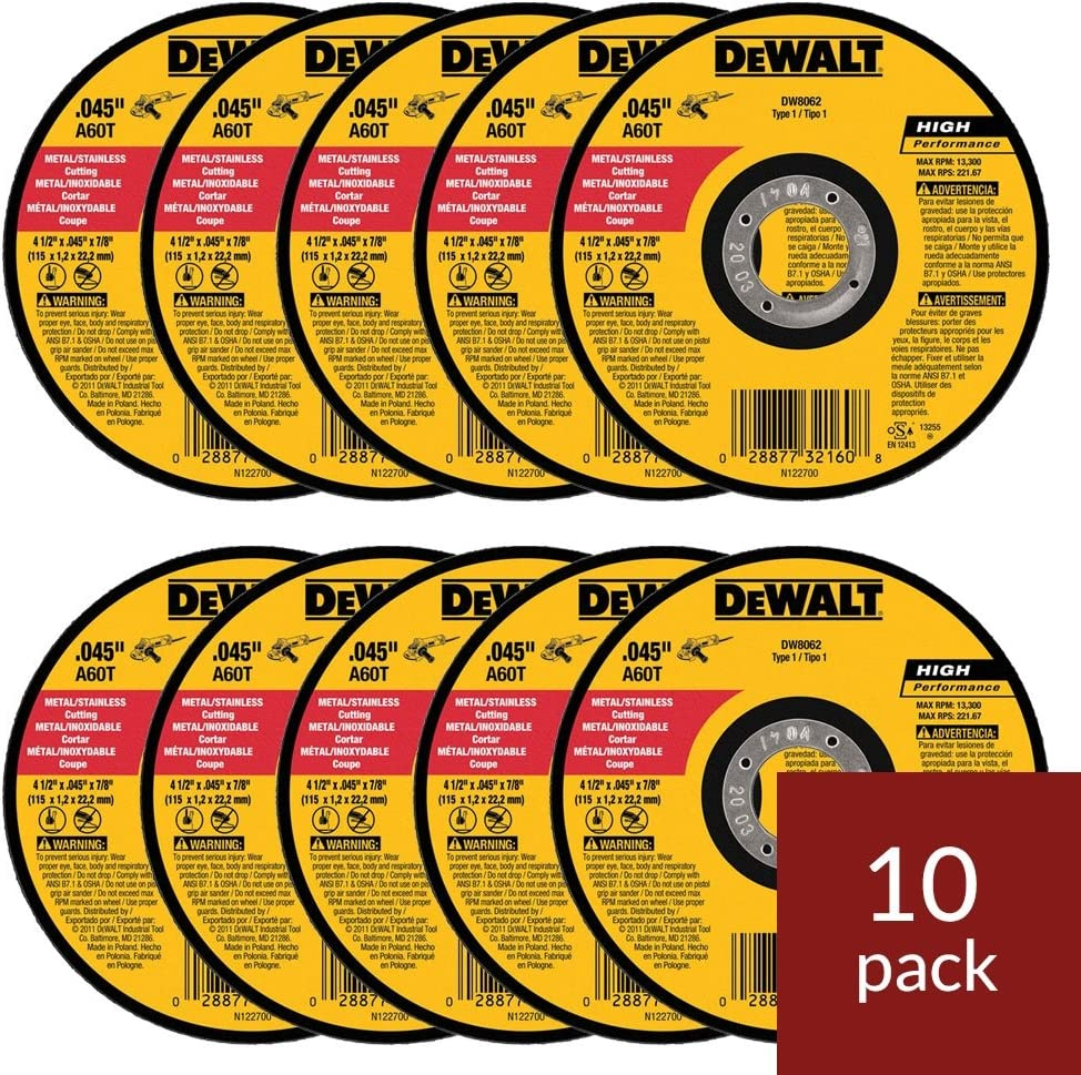 "100 DEWALT 4-1//2/"" .045/"" METAL//STAINLESS CUT OFF CUTTING WHEELS TYPE 1 DWA8051T10"