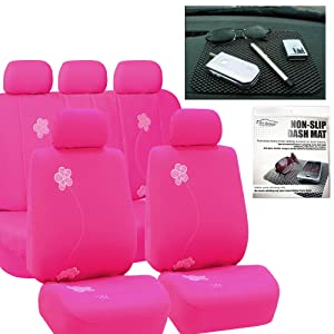 FH GROUP FH-FB053115 Floral Embroidery Design Full Set Car Seat Covers Pink Color, Airbag compatible and Split Bench with FH GROUP FH1002 Non-slip Dash Grip Pad- Fit Most Car, Truck, Suv, or Van