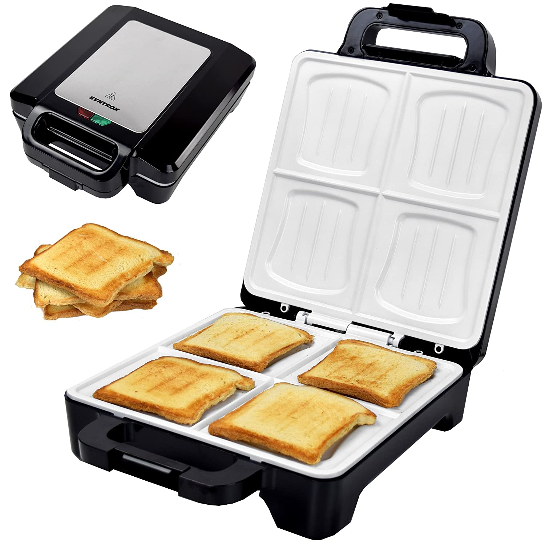 Syntrox Germany 1600W XLC Coquillage Sandwich Maker avec revêtement en céramique pour la fabrication de 4croque-monsieurs