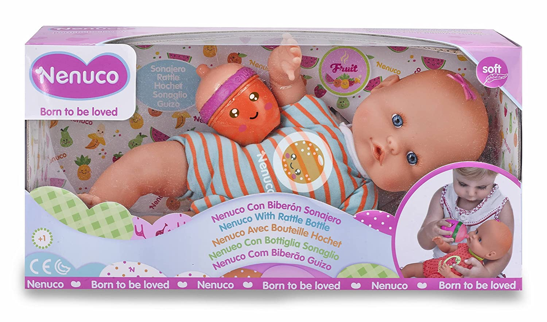 Nenuco - Mi pequeño, muñeca Con Biberón Sonajero y Pijama Limón, (Famosa 700012087)