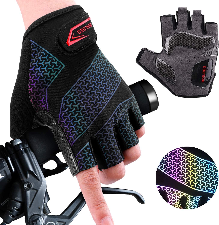 boildeg Fahrradhandschuhe Radsporthandschuhe rutschfeste und stoßdämpfende Mountainbike Handschuhe mit Signalfarbe geeiget Unisex Herren Damen (Black -