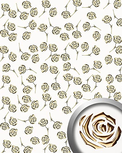 Revestimiento mural autoadhesivo diseño WallFace 16444 3D ROSE rosas perforadas con hoja base blanco perlado oro