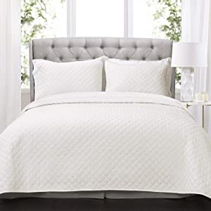 Lush Decor Ava Quilt Diamond Pattern Solid 3 Piece Oversized Bedding Blanket Bedspread Set - King - White
